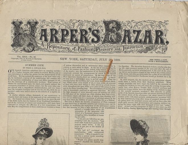 Image for Harper's Bazar:  A Repository of Pleasure and Instruction, July 20, 1889