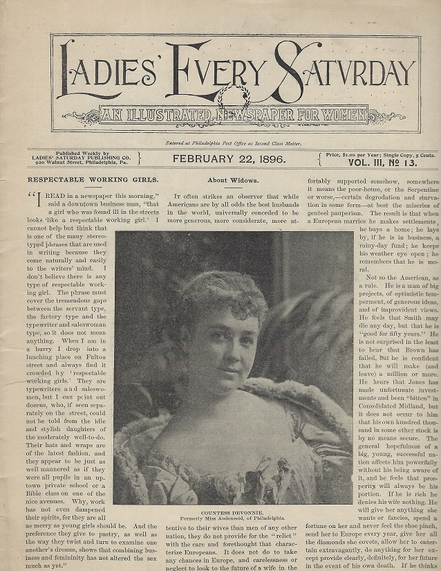 Image for Ladies' Every Saturday, February 22, 1896:  An Illustrated Weekly Newspaper for Women